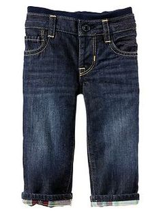 Flannel-lined knit-waist straight jeans