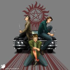 Three Blades by JustynaRerak for the Supernatural Design Challenge. This is one of my favorite pieces of Supernatural fan art. Supernatural Fans, Supernatural Cartoon, Supernatural Drawings, Supernatural Wallpaper, Castiel, Fanart, Kaichou Wa Maid Sama, Fandoms, Two Brothers