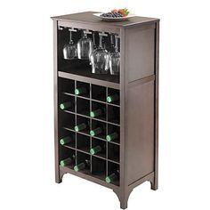 20 bottle Wine Storage Cabinet Glass Rack Liquor Display Holder Dark Espresso  #Winsome