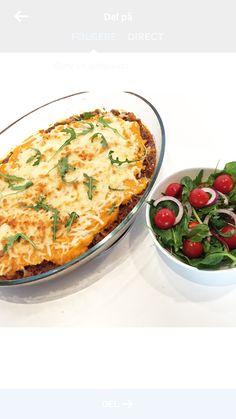 En god og enkel hverdagsmiddag - og kombinasjonen med søtpotetmos og  tomatisert karbonadedeigfyll er bare utrolig godt. Du kan også tilsette mer  grønnsaker om ønskelig, feks. squash, gulrøtter, purre eller hva du liker  og hva du har tilgjengelig. Og det beste med middag i form er at en da får rydda unna mens retten står  i ovnen:)  Du trenger:      * 600 g karbonadedeig     * 2 store søtpotet (evt. 3 middels)     * 1 løk     * 2 fedd hvitløk (må ikke)     * 1 boks hakkede tomater…
