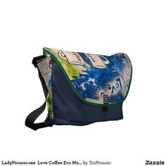 LadyPicasso.me  Love Coffee Eco Messenger Bag: created from original tetkaART
