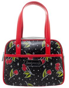 Our popular bowler-style purses are now available a wee bit smaller and feature brand new designs! The Love Cherries Mini Bowler's black vinyl exterior is printed with an all over, heart-shaped-cherry pattern and features sturdy, red handles a Pin Up, Fendi, Gucci, Boutique Vintage, Patches, Chicano, Leather Handle, Purses And Handbags, Fashion Bags