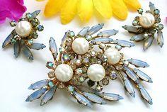 Vintage Brooch Earring Set Beau Jewels Signed Blue Givre Rhinestones Baroque Pearls Gold Metal BIG