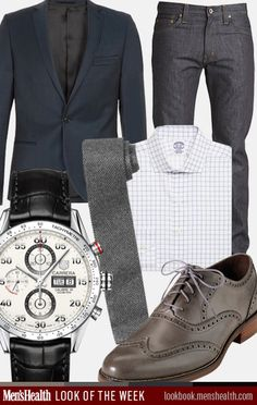 Blazer: Topman, Tie: Club Monaco, Dress shirt: Brooks Brothers, Jeans: J.Brand, Watch: Tag Heuer, Shoes: Cole Haan