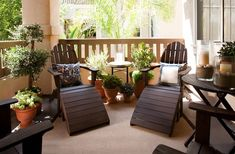 Really cool and design balcony with wooden furnitures