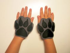 Wolf felt cuffs 2 pcs - grey handmade animal costume accessory for boy girl kids adults - dress up play Photo booth props Theatre roleplay