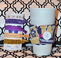 UW Husky Fan Pack Fold Over Elastic Hairties & Reversible Coffee Cozy. $12.00, via Etsy.