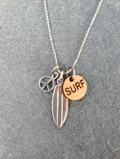Silver Surfboard Stand Up Paddle Surfer Necklace by CABANA109, $40.00