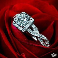 Love the infinity twist band! A unique spin on the norm, the 'Diamond Braid' Diamond Engagement Ring surely packs a punch. Two rows laced with 74 Round Brilliant Diamond Melee (0.37ctw; G/H SI1) intertwine to make one stunning ring.   The width tapers from 4.7mm at the top down to 4mm at the bottom.