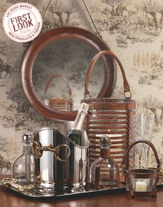 #FirstLook product trends at #LVMkt: #equestrian. Zodax pairs glassware with vintage iron and polished steel accents in its Equestrian Collection. LVMKT WINTER 2015