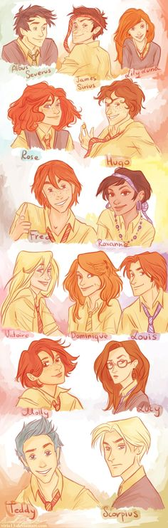 Albus Severus, James Sirius, Lily Luna, Rose, Hugo, Fred II ( I don't think it's genetically possible for him to have red hair unless one of his mother's family members is a red head), Roxanne, Victoire, Dominique, Louis, Molly, Lucy, Teddy, Scorpius