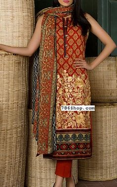 Rust Lawn Suit | Buy Alkaram Pakistani Dresses and Clothing online in USA, UK