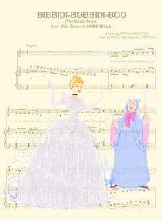 Here is a music sheet art print of Cinderella and her Fairy Godmother from Disney's Cinderella. This is perfect for any Cinderella/Disney fanatic! Disney Songs, Disney Art, Disney Sheet Music, Sheet Music Art, Film Disney, Disney Images, Disney Crafts, Disney Quotes, Disney Pictures