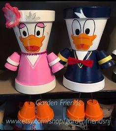 Donald & Daisy Clay Planter Pot People Planters Yard Art