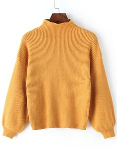 SheIn offers Yellow Mock Neck Lantern Sleeve Crop Sweater & more to fit your fashionable needs. Loose Sweater, Cropped Sweater, Men Sweater, Fall Patterns, Yellow Sweater, Fall Sweaters, Mock Neck, Capsule Wardrobe, Lantern
