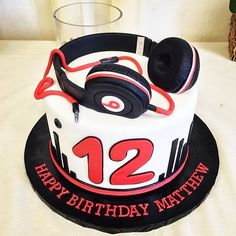 Beats headphones cake. Headphones molded out of fondant and gum-paste @Jane Doe…