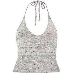 Beige marl knitted halter neck crop top @riverisland #dreamersla #debut #crop top #haltertop
