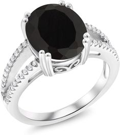 CloseoutWarehouse Heart of A Witch Simulated Onyx Designer Ring Sterling Silver 925