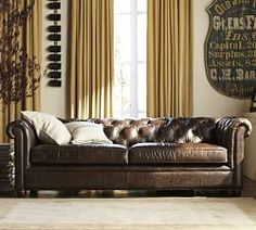 Chesterfield Leather Sofa in leather or fabric at Pottery Barn