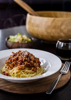 Spaghetti with chicken sausage and lentil bolognese