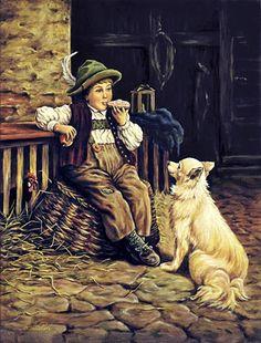 """Gemälde: """"Knabe beim Vespern mit Hund im Stall"""""""