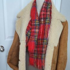 Warm and fuzzy classic Scottish Mohair Wool Tartan Scarf - mint vintage condition #ChicDeVintage1 #woolscarf #redtartan #vintage #hipster #fashion