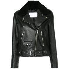 Nobody Denim Sherpa Biker Jacket Black Leather found on Polyvore featuring outerwear, jackets, black, real leather jackets, leather sherpa jacket, slim leather jacket, slim fit leather jacket and leather jackets