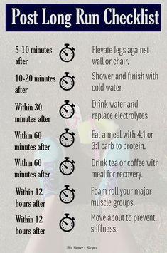 Post Long Run Checklist Running Tips, Running Training, Running Humor, 15k Training, Running Plans, Running Food, Running Club, Running For Beginners, Street Racing