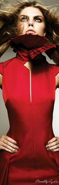 Red Party, Red Fashion, Color Fashion, Lady In Red, High Neck Dress, Dresses, Spicy, Strawberry, Passion