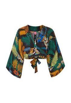 Blusa cropped kimono folclorita - preta Roupa Tropical a0f989c97515b