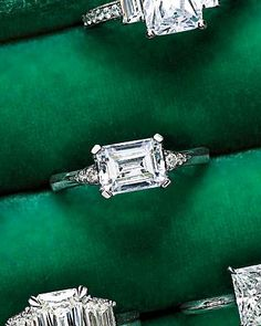 "Horizontal-set emerald-cut engagement ring. MaeVona's ""Eorsa"""