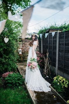 A Beautiful Backless Gown for a Bohemian Bride and her Fun and Laid Back Wedding