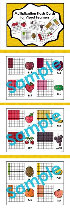 Finally Flash Cards for Visual Learners!! These array cards help students make connections between the facts they are trying to learn and the concept of multiplication. $