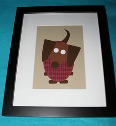 Framed Dachshund Wiener Dog in Sweater Adorable Print available through the Furever Dachshund Rescue Etsy Shop!