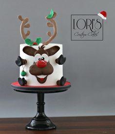 by Lori Mahoney (Lori's Custom Cakes) Fondant Christmas Cake, Christmas Themed Cake, Christmas Cake Designs, Christmas Cake Decorations, Holiday Cakes, Christmas Cookies, Xmas Food, Christmas Baking, Cupcakes
