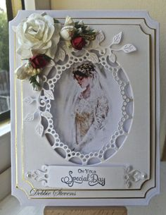 Pinner says: Spellbinders grand labels, Spellbinders fancy framed tags one, marianne design craftable passé-partout oval, cheerylynne ivy corner flourish, the sentiment stamp is from justrite ever after set, flowers from stash, the bride picture is a digital download but cant for the life of me remember where I had it from, its been on my pc for ages.