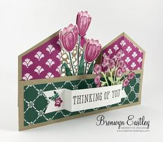 Two layers of tulips for added dimension. Fancy Fold Cards, Folded Cards, Card Making Tips, Making Ideas, Bridge Card, 50th Birthday Cards, 50 Birthday, Anna Griffin Cards, Step Cards