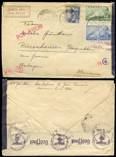 SPAIN CANARY ISLANDS 1941 AIRMAIL CENSORED to GERMANY #CoversSingles