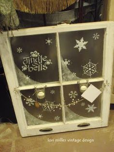 Interesting prop, easily made. Round Barn Potting Company: Can you say Creativity. Old Window Decor, Old Window Panes, Window Art, Window Ideas, Windows Decor, Window Frames, Country Christmas, All Things Christmas, Christmas Holidays