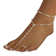 Ularmo Womens Beach Imitation Pearl Barefoot Sandal Foot Jewelry Anklet Chain white ** You can find more details by visiting the image link.