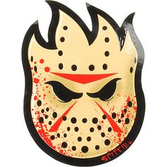 Represent Spitfire with the Horror Bighead sticker in tan and red splatter. Featuring the classic Spitfire Bighead logo wearing a hockey mask and covered in blood. Made of a sturdy weather-resistant vinyl for a long-lasting sticker that keeps color and looks great.You have the sticker now get the Spitfire Wheels, bearings, and gear.