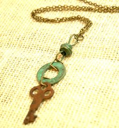 vintage rustic key neclace teal hardware long by FindingBrooke, $20.00