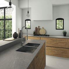 plan-de-travail-ceramique-aspect-pierre-grise-ilot-rangements-bois