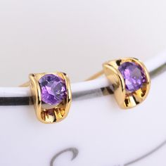 5mm 18K Gold Plated Fashion Jewelry Inlay Ziron Women Ladies Copper Earrings
