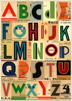 Julia Trigg's collected letters. She keeps her eye out for all types of ephemera for use in her work; old stamps, postcards, packaging and woodblock type.  http://juliatrigg.co.uk/ http://blog.8faces.com/post/51465593944/timeless-alphabets-you-can-find-a-world-of #fonts #typography #letters #alphabet #design #collage