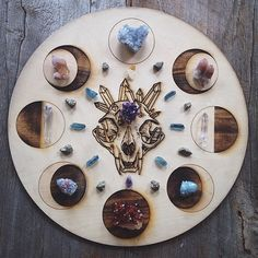 moon phase crystal grid with skull and crystals