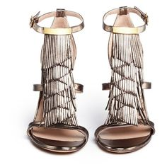 Chloé Fringe metallic leather sandals ($400) ❤ liked on Polyvore featuring shoes, sandals, heels, scarpe, leather footwear, heeled sandals, real leather shoes, leather shoes and chloe sandals
