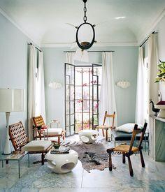 Bruno Frisoni, Vogue, Moroccan home, living room marble floor, zebra rug, Van der Staeten tables