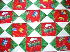 Baby Boy Toddler Quilt Blanket Red Green Blue Cotton by KeriQuilts, $90.00