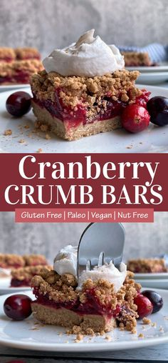 This Paleo cranberry bar recipe is the best way to enjoy fresh cranberries while still eating clean. These cranberry crumble bars are Paleo, egg free (easily made Vegan), nut free, dairy free and super easy to make! The crust and crumble is made with cassava flour and the filling is comprised of cranberries and fresh squeezed orange juice - the perfect combo. #cranberrybars #cranberrycrumble #paleo #eggfree #nutfree Fresh Cranberry Recipes, Cranberry Bars, Easy To Make Desserts, Healthy Dessert Recipes, Cassava Flour Recipes, Paleo Bars, Peppermint Fudge, Fresh Cranberries, Eating Clean
